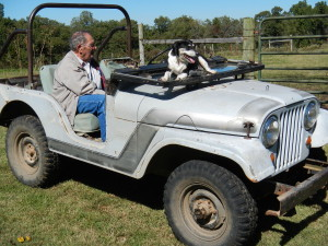 Dad in my brother Gene's Jeep with Mr. Peabody