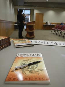 Librarian introduces authors
