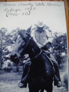 Fred Bell on one of the horses he worked of during his first years of service